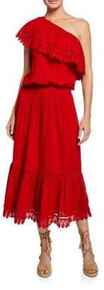 Melissa Odabash Jo One-Shoulder Lace Coverup Sun Dress