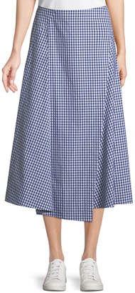 Theory Hartman Gingham Midi Cotton Placket Skirt