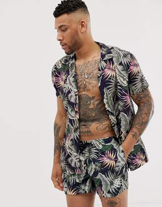SikSilk two-piece short sleeve shirt in palm print