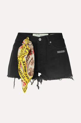Off-White Scarf-embellished Distressed Denim Shorts - Black