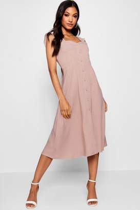 boohoo Thania Button Through Check Midi Dress