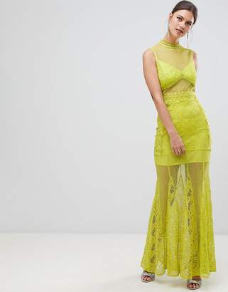 True Decadence Sheer Lace Maxi Dress With High Neck Detail
