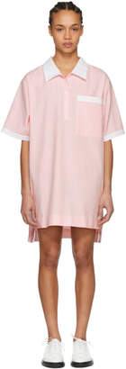Thom Browne Pink and White Seersucker Polo Mini Dress