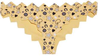Marysia Swim Honolulu Scalloped Printed Bikini Briefs - Pastel yellow