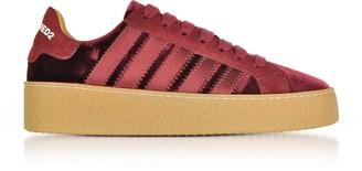 DSQUARED2 Burgundy Velvet and Satin Women's Sneakers