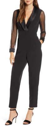 Eliza J Tuxedo Collar Long Sleeve Jumpsuit