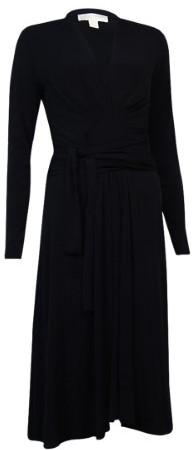 Michael Kors Women's Pleated Self Tie Jersey Dress (4, Black)