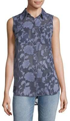 Jones New York Floral Sleeveless Button-Down Shirt