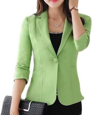 Suncolor8-Women Suncolor8 Womens Stylish 3/4 Sleeve Work Office One Button Blazer XL