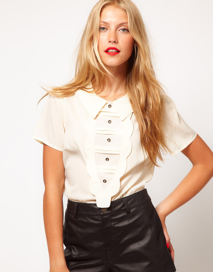 ASOS Blouse With Scalloped Bib And Buttons