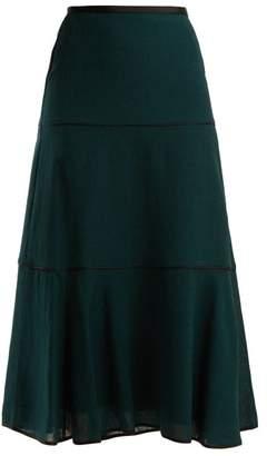 Cefinn - Tiered Voile Midi Skirt - Womens - Dark Khaki