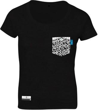 Anchor & Crew Noir Black Digit Print Organic Cotton T-Shirt