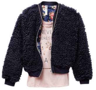 Beautees Graphic Tank, Faux Fur Bomber Jacket & Necklace Set (Big Girls)
