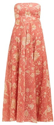 Zimmermann Veneto Floral Print Linen Maxi Dress - Womens - Red