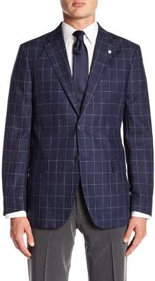 Nautica Blue Linen Two Button Notch Lapel Linen Classic Fit Sport Coat