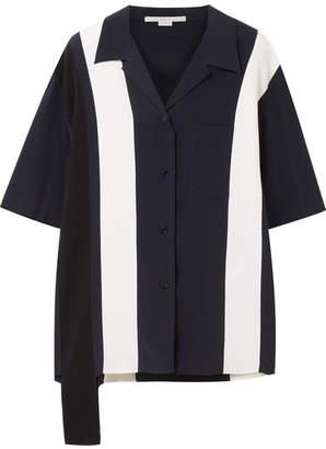 Stella McCartney Asymmetric Striped Silk Shirt - Midnight blue