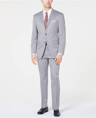 Perry Ellis Men Slim-Fit Stretch Wrinkle-Resistant Light Gray Windowpane Suit