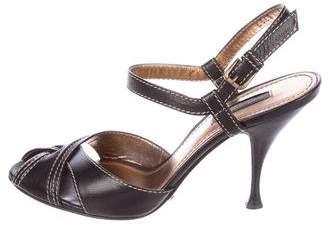 Dolce & Gabbana Leather Peep-Toe Sandals