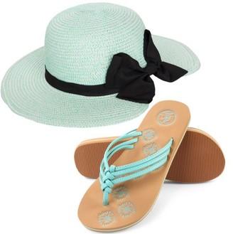 AERUSI Miss Anderson Women's Floppy Straw Sun Hat and Foam Flip Flop Sandals Set US Women's Shoe Sizes 7-10