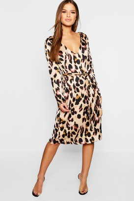 boohoo Petite Satin Wrap Tie Leopard Print Dress