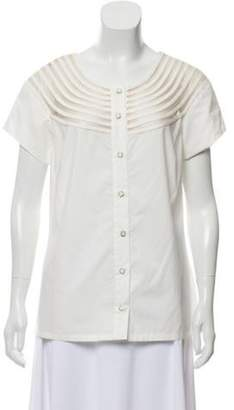 Lela Rose Short Sleeve Button-Up Top w/ Tags White Short Sleeve Button-Up Top w/ Tags