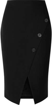 Cefinn - Button-embellished Stretch-crepe Pencil Skirt - Black