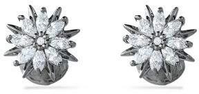 Noir Silver-Tone Crystal Stud Earrings
