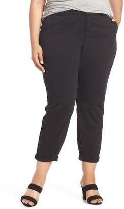 Caslon Boyfriend Stretch Cotton Chino Pants (Plus Size)