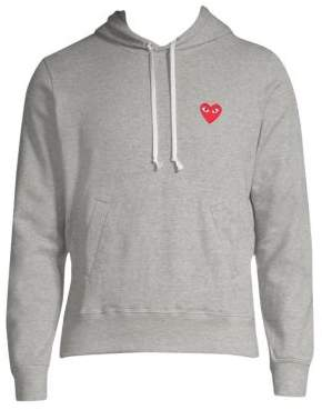 Comme des Garcons Men's Embroidered Heart Cotton Hoodie - Grey - Size Small