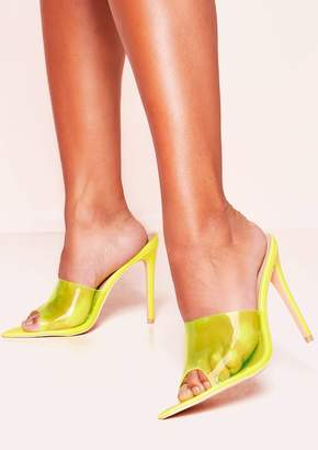 e4913d8549eb Missy Empire Missyempire Penni Neon Yellow Perspex Pointed Mule Heels