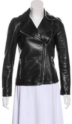 Gucci Knit-Trimmed Leather Biker Jacket