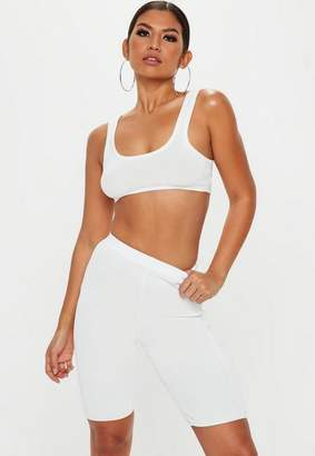 Missguided White Knit cycling short and top co ord set