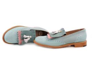 Abo Mintish-blue & Pink Kiltie Loafers