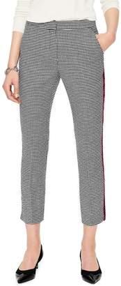 Boden British Tweed Check Velvet Trim Pants