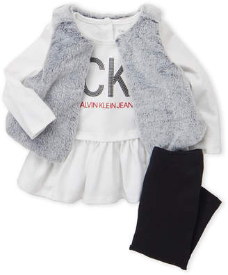 Calvin Klein Jeans Infant Girls) 3-Piece Faux Fur Vest & Pants Set