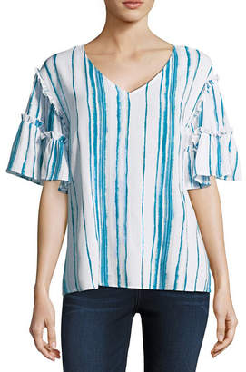 A.N.A Elbow Sleeve V Neck Woven Blouse-Tall