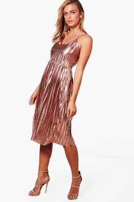 boohoo Metallic Pleat Strappy Midi Dress