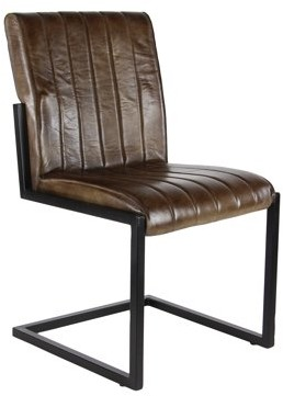 DecMode Decmode Rustic 35 X 20 Inch Leather And Iron Armless Chair,