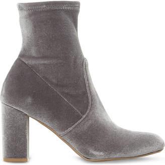 Steve Madden Ladies Grey Cropped Modern Avenue Velvet Heeled Ankle Boots
