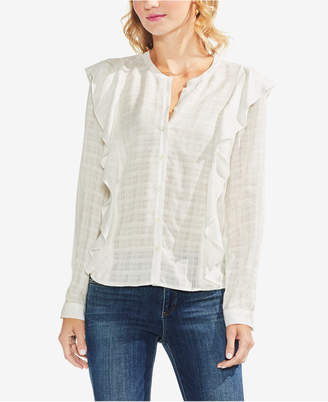 Vince Camuto Sheer Plaid Ruffled Shirt