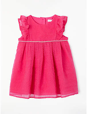 John Lewis & Partners Baby Frill Floral Burnout Dress, Pink
