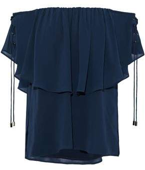 Haute Hippie Off-The-Shoulder Layered Chiffon Blouse