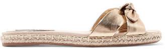 Tabitha Simmons Heli Bow-embellished Metallic Leather Espadrille Slides