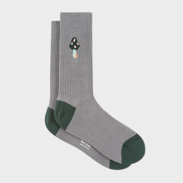 Men's Grey Mushroom Ribbed Socks