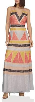 BCBGMAXAZRIA Color-Block Lace-Appliqué Maxi Dress