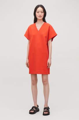 Cos SHORT-SLEEVED V-NECK COTTON DRESS