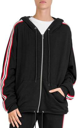 The Kooples Fleece Sleeve-Stripe Zip Hoodie
