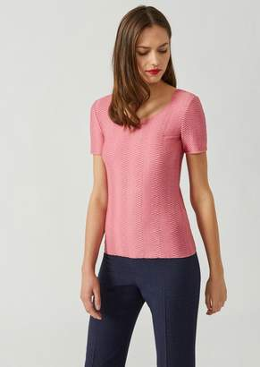 Emporio Armani Stretch Jersey Top With Wave Motif
