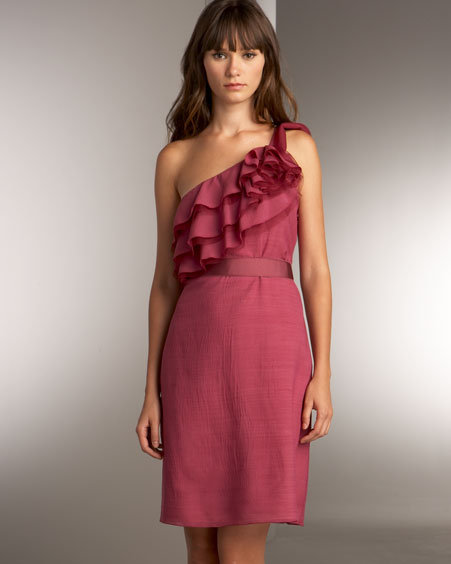 Lela Rose One Shoulder Ruffle Dress