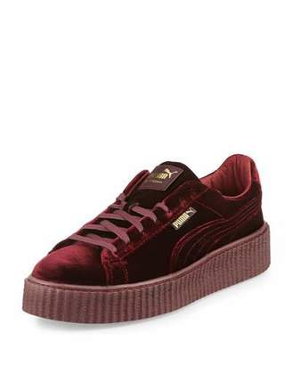 Fenty Puma by Rihanna Men's Velvet Creeper Sneakers, Dark Red $150 thestylecure.com